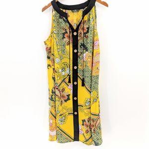 Mlle Gabrielle Button Front Sleeveless Dress
